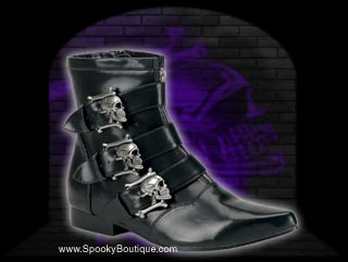 BROGUE-06 - Skull Buckle Strap Goth Boots
