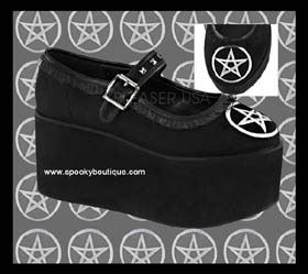 CLICK-02 Pentacle Bow Platform Maryjanes