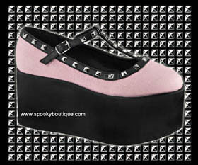 CLICK-07 - Black and Pink Studded Platform Maryjanes