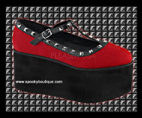 CLICK-07 - Black and Red Studded Platform Maryjanes
