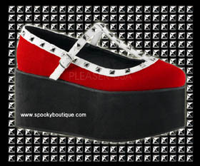 CLICK-07 - Red and White Studded Platform Maryjanes