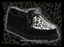CREEPER-600 - Black Suede & Leopard Fur Creepers Shoes