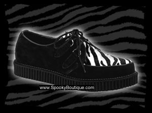 CREEPER-600 - Black Suede & Zebra Fur Creepers Shoes