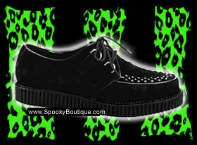 CREEPER-602S - Black Suede Lace-Up Creepers