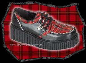 Girls Red Plaid Creepers