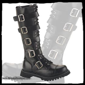 20-Hole Buckle Strap Boots