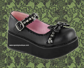 SPRITE-03 -Sweet Lolita Black Bow with Studs Maryjanes