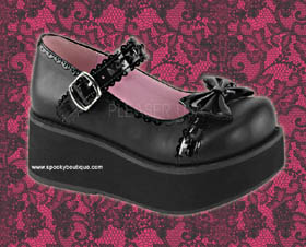 SPRITE-03 -Sweet Lolita Black Bow with Black Studs Maryjanes