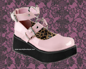 SPRITE-03 -Sweet Lolita Pink Wrap Around Ankle Straps with Silver Heart Rings Maryjanes